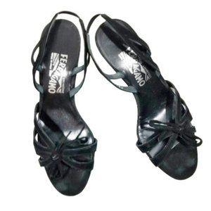 Ferragamo Black Suede strappy slingback sandals 6